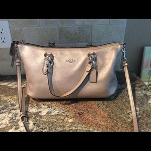 Coach Ally Platinum Metallic Pebbled Leather